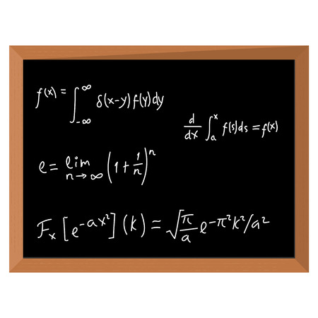 Vector illustration math geometry formulas. Mathematics on black chalkboard Illustration