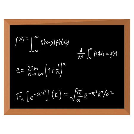 Vector illustration math geometry formulas. Mathematics on black chalkboard