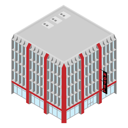 Vector isometric icon hotel building. 3d city infrastucture