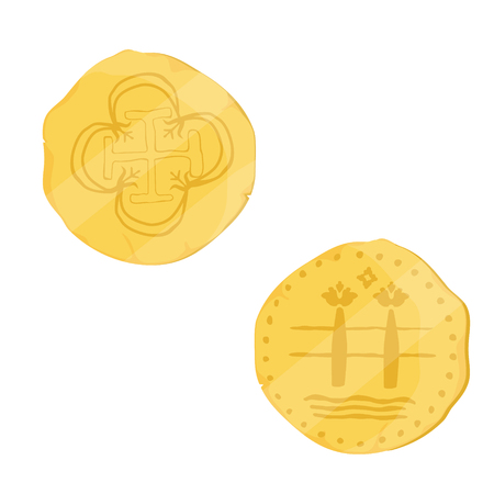 Two sides of old, antique golden coin isolated on white background. Spanish golden coin escudo