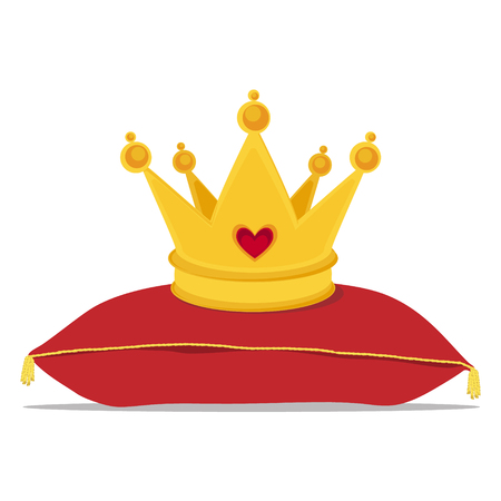 Golden crown on red pillow vector