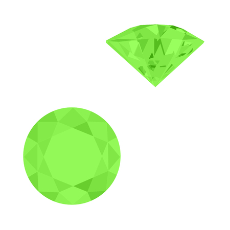 Zestaw realistycznych zielonych klejnotów. Kolorowe kamienie szlachetne. Zielone szmaragdy na białym tle.