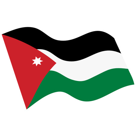 Flag of Hashemite Kingdom of Jordan. Waving flag Vettoriali