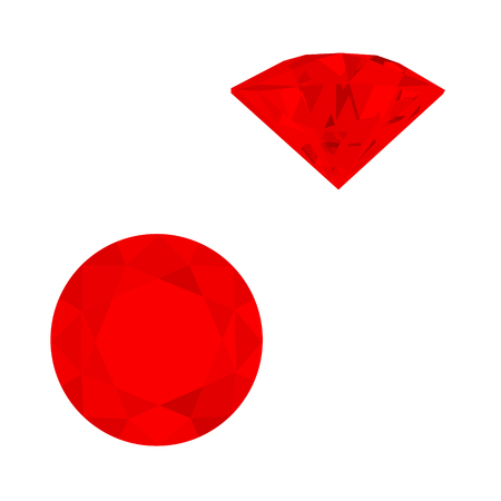 Set of red gemstones. Vector illustration of rubies.