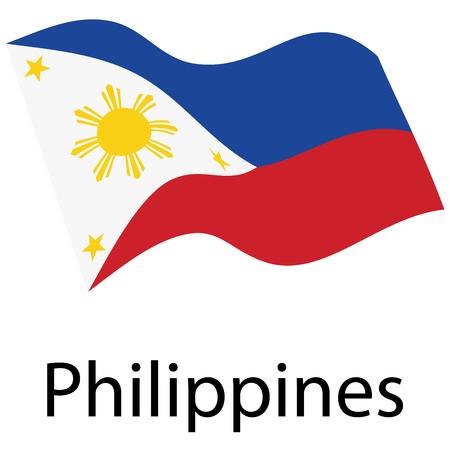 Vector de la bandera de Filipinas. Ondeando la bandera de la República de Filipinas