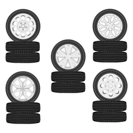 A stack of car tires. Car wheel set isolated on white