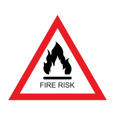 Vector illustration red and white Fire risk sign icon isolated on white background. Triangle sign. Danger or warning sign