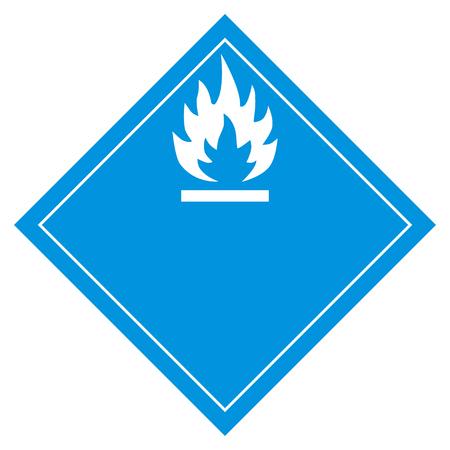 Vector illustration pictogram flammable water sign. Flammable when wet hazard sign