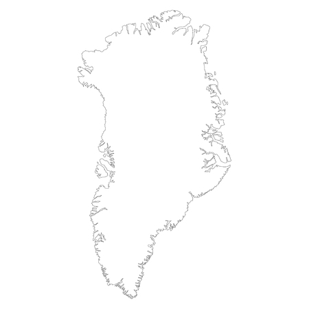 Vector illustration outline drawing of Greenland country map isolated on white background