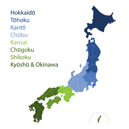 Vector illustration map with prefectures of Japan.