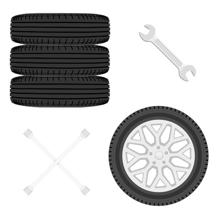 A stack of car tires. Car wheels and wrench icon set isolated on white. Car repair service concept