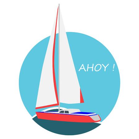 Vector illustration sail boat card