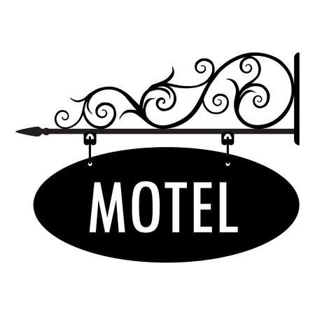Vintage motel illustration vectorielle, ancien signe. Panneau de signalisation itinéraire suspendu détaillant de bannières d'informations. Signe de porte de motel