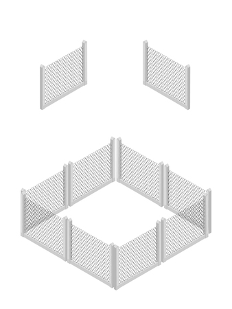 Isometric fence isolated on white. No solid fence. Iron gate. Fence with columns. Metal, wrought iron, lattice gates and fences for yard. Flat style. Vector