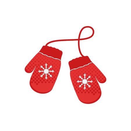 Vector illustration paire de mitaines de Noël tricotées sur fond blanc. Icône de la mitaine. Carte de voeux de Noël avec mitaines Vecteurs