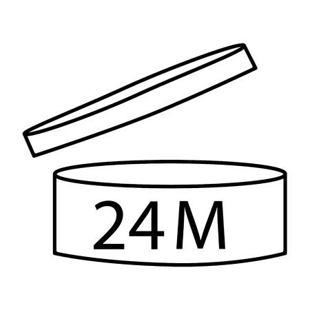 Kosmetiksymbolentwurf der Vektorillustration. Gültigkeitsdauer nach dem Öffnen des Symbols. Verfallsdatum nach den Symbolen für die Produktöffnung. 24M