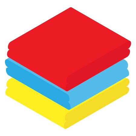 Isometrisch gefaltete Handtücher rot, blau und gelb. Weiches Baumwolltuch zum Baden Vektorgrafik