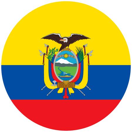 Vector illustration Ecuador flag icon isolated on white background. Round national flag of Ecuador coat of arms. Flag button Vector Illustration