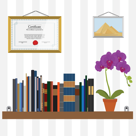 Vector illustration bookshelf with bibliography, encyclopedia, handbooks and orchid flower. Certificate and photo of pyramids on the wall.
