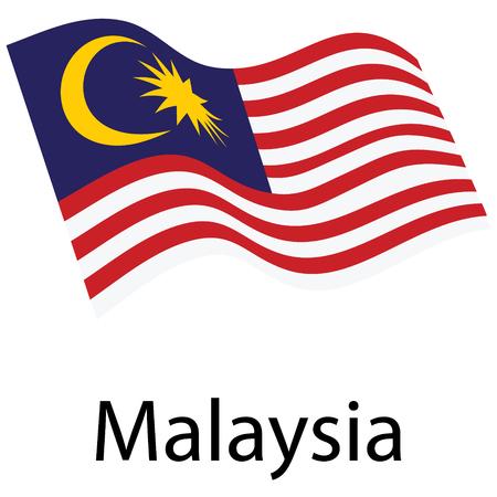 Flagge von Malaysia. Wehende Fahne