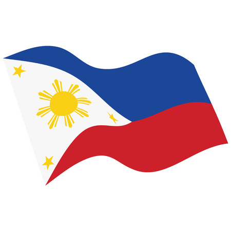 Philippines flag vector. Waving flag Republic of the Philippines