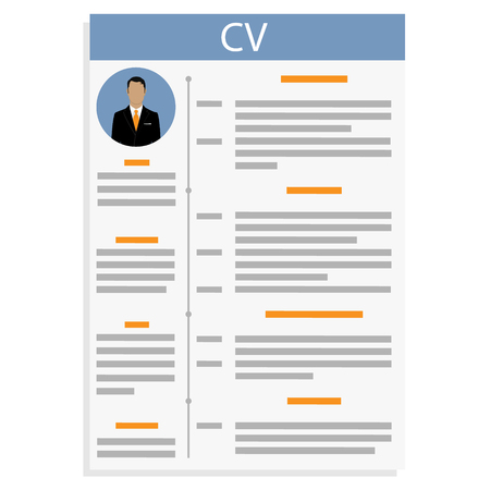 Vector illustration CV or resume design template with man photo. Curriculum Vitae icon.