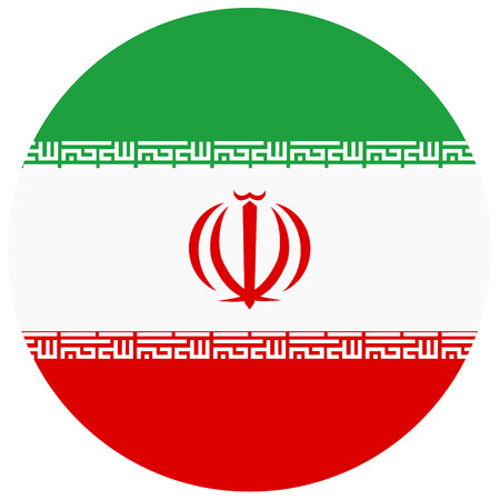 Vector illustration Iran flag icon isolated on white background. Round national flag of Iran. Flag button  イラスト・ベクター素材