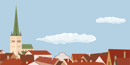 European architecture. Background of the cities of Tallinn, Riga, Vilnius. Vector illustration building. City skyline, landscape