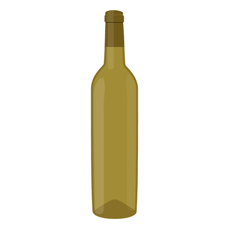 Vector illustration white wine bottle isolated on white background. Bottle of wine Illustration