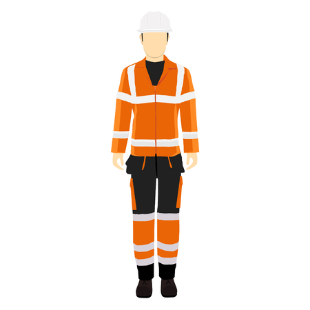 Man worker in uniform. Professional protective clothes, boots and white safety helmet.
