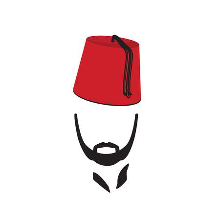 Turkish Man Wearing Fez Logo In Isolated