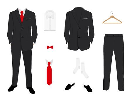 Elegant  men fashion, suit uniform with jacket, pants, shirt and shoes isolated on white