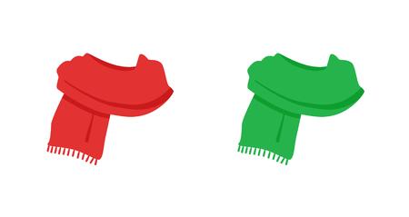 Écharpe tricotée rouge et verte isolée
