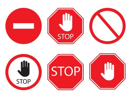 Sammlung von Stoppschildern in Rot und Weiß, Verkehrszeichen, um die Fahrer zu benachrichtigen und einen sicheren und geordneten Straßenbetrieb zu gewährleisten. Vektorgrafik