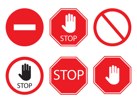 Stop signs collection in red and white, traffic sign to notify drivers and provide safe and orderly street operation. Stock Illustratie