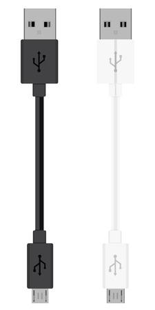 Cavo USB Micro isolato su sfondo bianco. Connettore e presa per PC e dispositivi mobili. Connettore per periferiche per computer o alimentatore per ricarica smartphone Vettoriali
