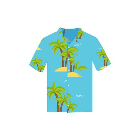 Vector illustration Hawaiian aloha shirt. Hawaii shirt aloha beach male cloth. Hawaii shirt adult clothing pattern design and modern flat hawaii shirt textile.