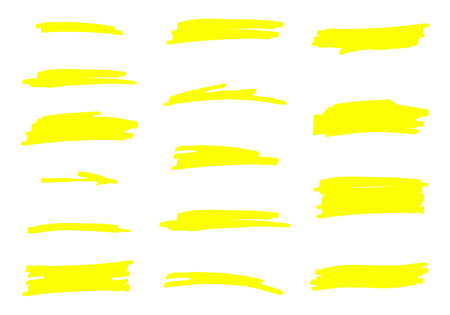 Vector highlighter brush set. Hand drawn yellow highlight marker stripes.