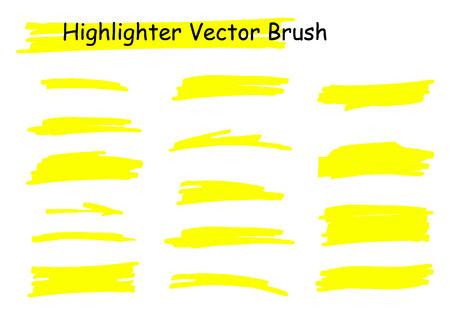 Vector highlighter brush set. Hand drawn yellow highlight marker stripes. Ilustração