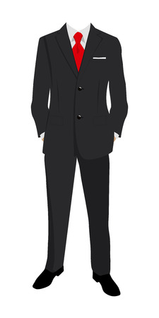 Wedding mans suit and tuxedo. Vector illustration.