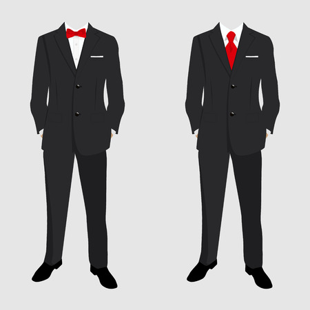 Wedding mens suit and tuxedo. Collection. Vector illustration.