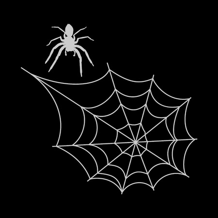 Cobweb, isolated on black background. Spiderweb and spider for Halloween design. Spider web element,spooky, scary, horror halloween decor. Silhouette, vector illustration