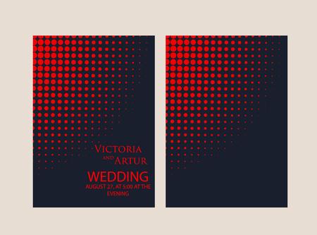 Vector modern design wedding invitation. Trendy geometric halftone pattern on a dark blue background. Rose gold color Vetores