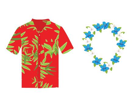 Illustration vectorielle Chemise aloha hawaïenne avec couronne de fleurs, collier. Chemise hawaïenne aloha beach tissu masculin. Conception de modèle de vêtements pour adultes de chemise hawaïenne et textile de chemise hawaii plat moderne. Vecteurs