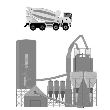 Vektor-Illustration. Betonzementwagen und Zement, Mörtel, Betonfabrik. Mischwagen isoliert auf weißem Hintergrund. Realistisch hochdetailliert