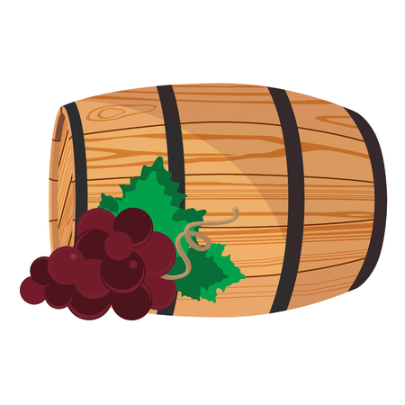 Vector illustration red grapes on wooden barrel with wine isolated on white