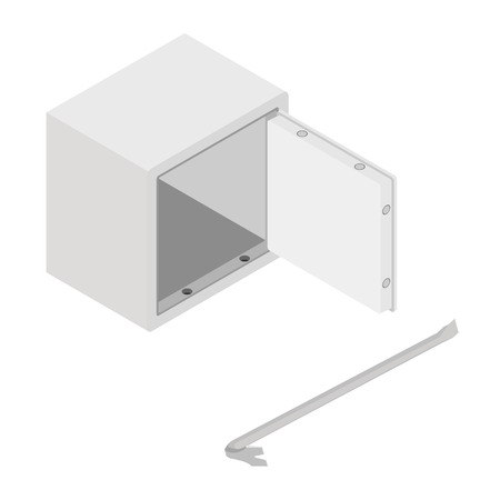 Vector illustration isometric 3d steel money bank safe icon. Opened safe