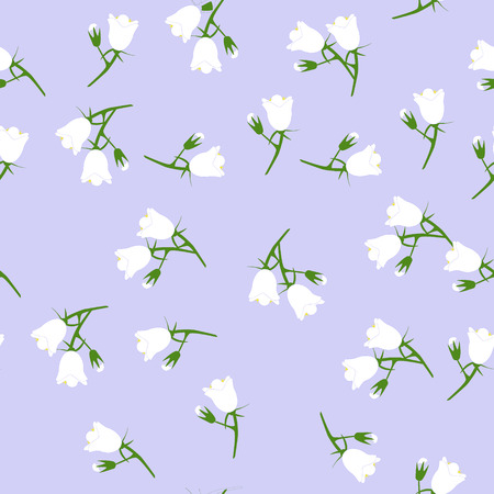 Vector seamless pattern with white bell flowers isolated on a blue background. Vettoriali