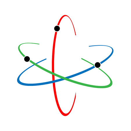 Atom icon. Vector illustration. Symbol of science, education, nuclear physics, scientific research. Three electrons rotate in orbits around atomic nucleus. Concept of elementary particles design. Stock Illustratie