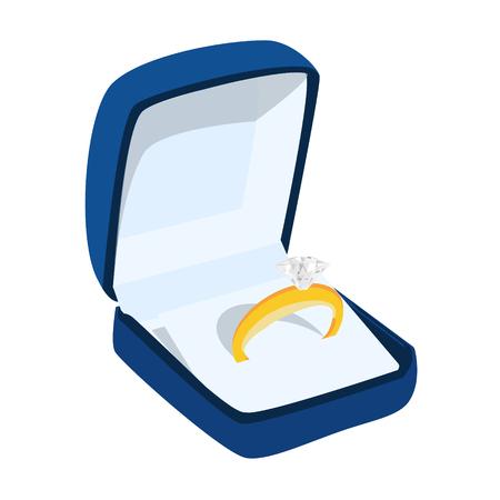 Schöner glänzender goldener Verlobungsring mit großem Edelsteindiamant in der reichen blauen Samtbox lokalisiert auf weißem Hintergrund. Valentinstag Vorschlag Geste vorhanden.